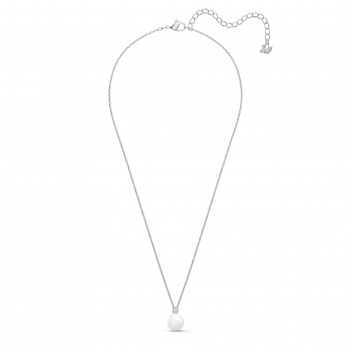 Treasure Pearl Necklace, White, Rhodium plated