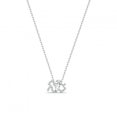 Zodiac II Pendant, Aquarius, White, Mixed metal finish