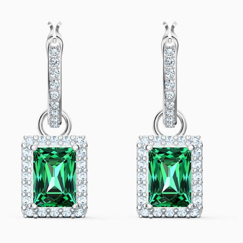 Angelic Rectangular Pierced Earrings, Green, Rhodium plated