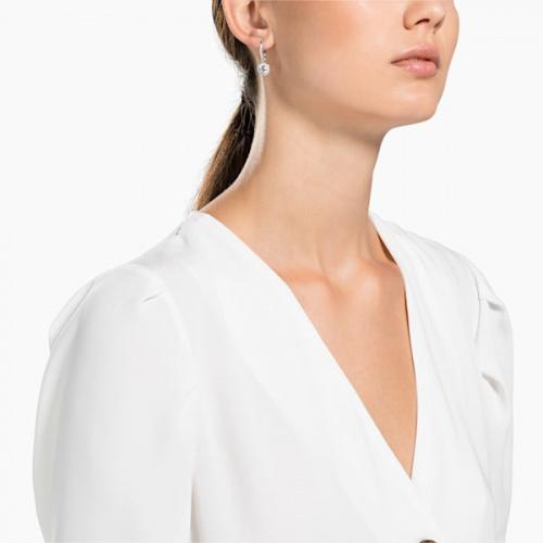 Angelic Pierced Earrings, White, Rhodium plated