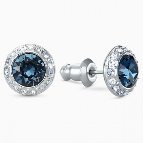 Angelic Stud Pierced Earrings, Blue, Rhodium plated