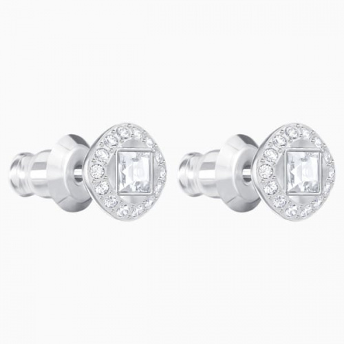 Angelic Square Pierced Earrings, White, Rhodium plated