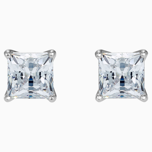 Attract Pierced Earrings, White, Rhodium plated