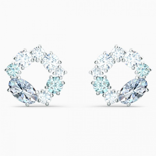 Attract Circle Stud Pierced Earrings, Multicolored, Rhodium plated