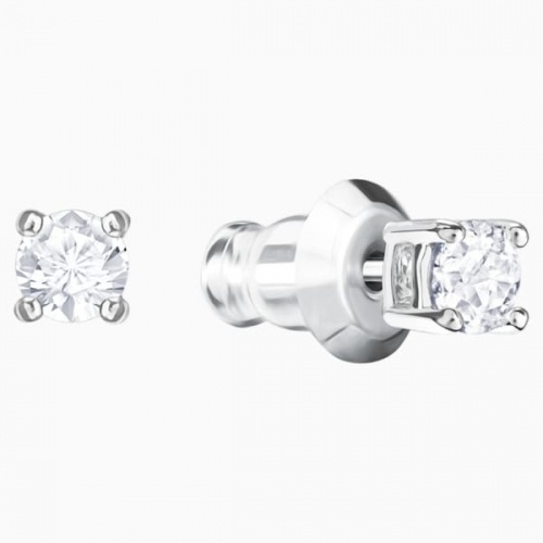 Attract Round Pierced Earrings, White, Rhodium plated