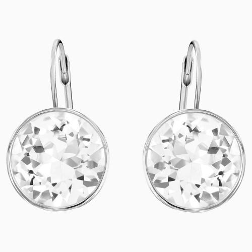 Bella Pierced Earrings, White, Rhodium plated