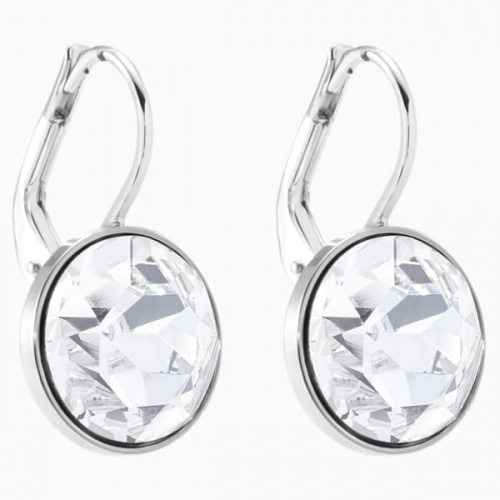 Bella Mini Earrings, White, Rhodium plated