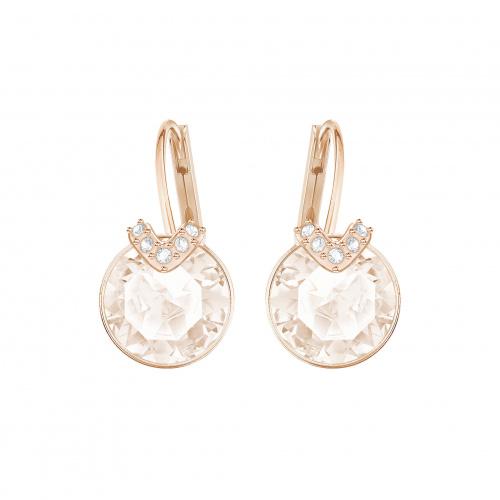 Bella V Pierced Earrings, Pink, Rose-gold tone plated