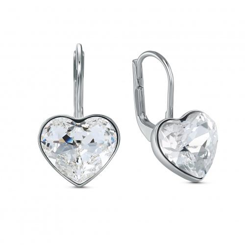 Bella Heart Pierced Earrings, White, Rhodium plated