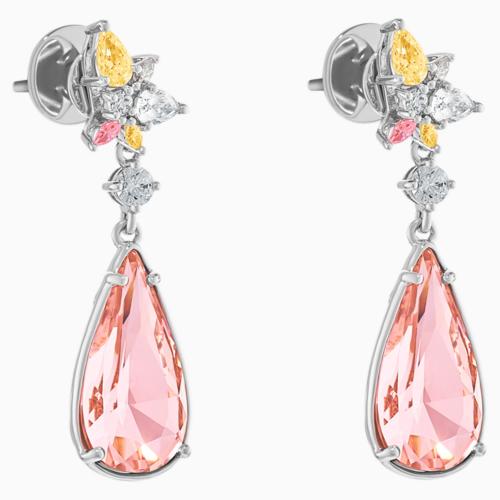 Botanical Pierced Earrings, Pink, Rhodium Plated