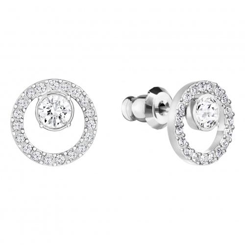 Creativity Circle Pierced Earrings, White, Rhodium plated