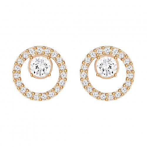 Creativity Circle Pierced Earrings, White, Rose-gold tone plated
