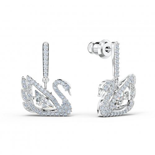 Dancing Swan Pierced Earrings, White, Rhodium plated
