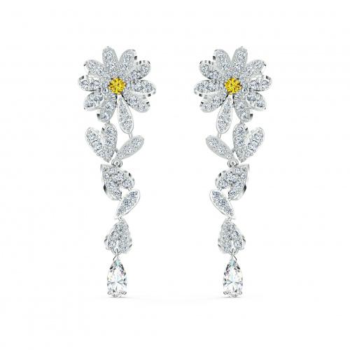 Eternal Flower Pierced Earrings, Yellow, Mixed metal finish