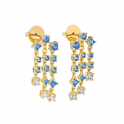 Penélope Cruz Icons of Film Chandelier Pierced Earrings, Blue, Gold-tone plated