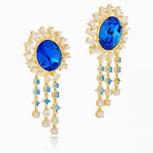 Penélope Cruz Icons of Film Pierced Earrings, Blue, Gold-tone plated
