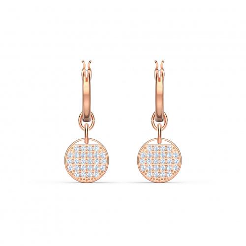 Ginger Mini Hoop Pierced Earrings, White, Rose-gold tone plated