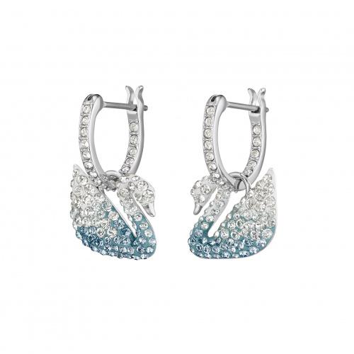 Swarovski Iconic Swan Pierced Earrings, Multi-colored, Rhodium plated
