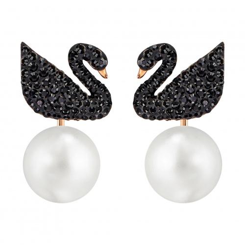 Swarovski Iconic Swan Pierced Earring Jackets, Black, Rose-gold tone plated