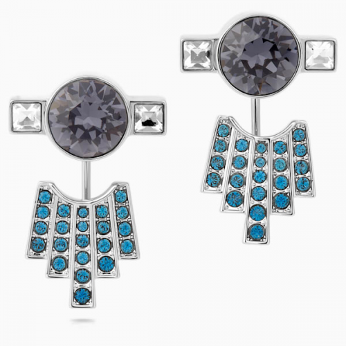 Karl Lagerfeld Pierced Earring Jackets, Blue, Palladium plated
