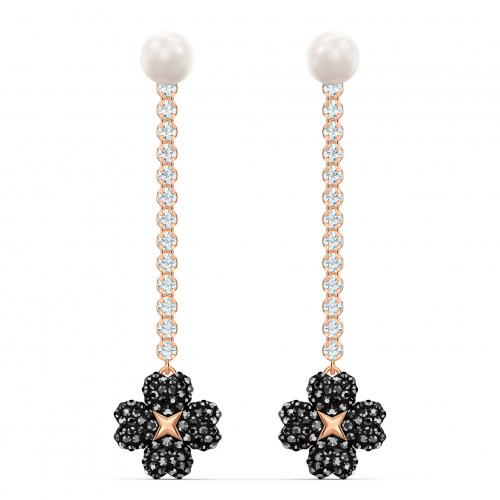 Latisha Pierced Earrings, Black, Rose-gold tone plated