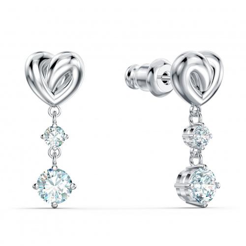 Lifelong Heart Pierced Earrings, White, Rhodium plated