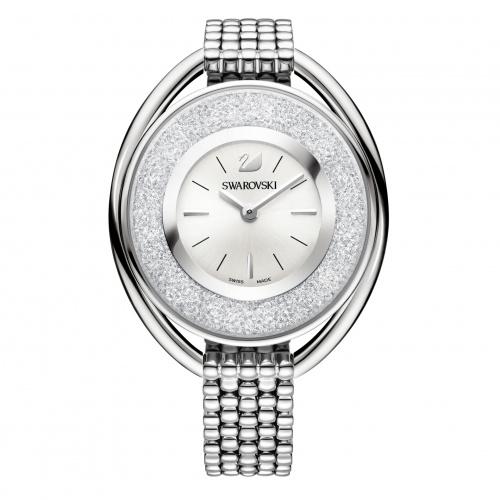 Crystalline Oval Watch, Metal bracelet, White, Stainless steel