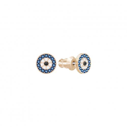 Luckily Evil Eye Pierced Earrings, Blue, Rose-gold tone plated