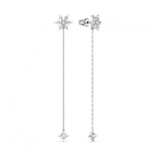 Magic Chain Pierced Earrings, White, Rhodium plated