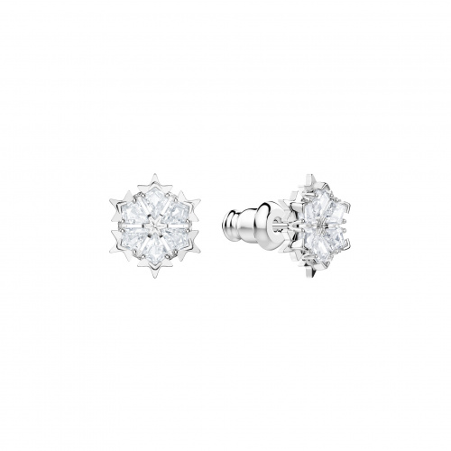 Magic Pierced Earrings, White, Rhodium plated
