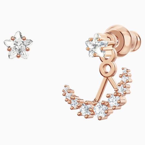 Penélope Cruz Moonsun Pierced Earring Jackets, White, Rose-gold tone plated