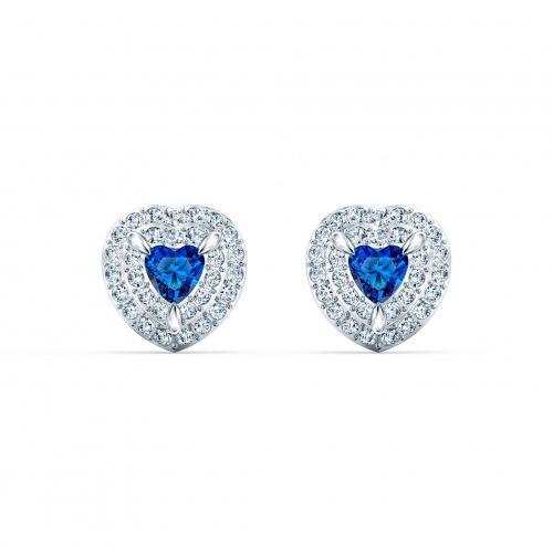 One Stud Pierced Earrings, Blue, Rhodium plated