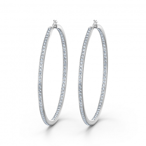 Rare Hoop Pierced Earrings, White, Rhodium plated