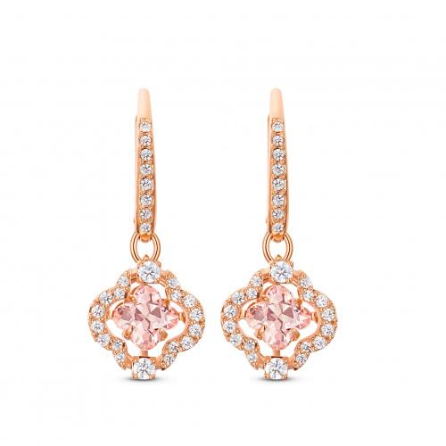 Swarovski Sparkling Dance Clover Pierced Earrings, Pink, Rose-gold tone plated