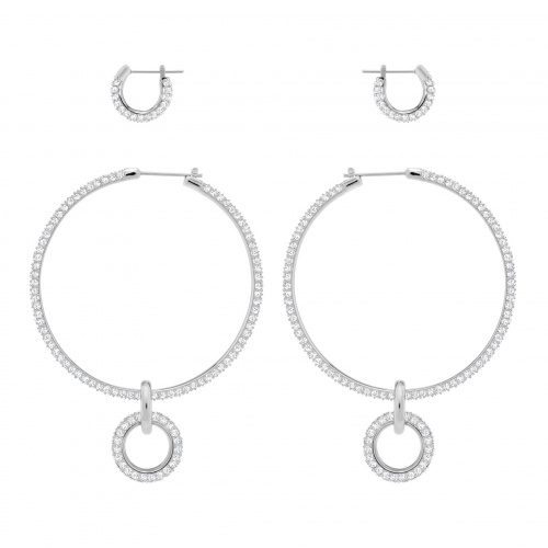 Stone Pierced Earring Set, White, Rhodium plated