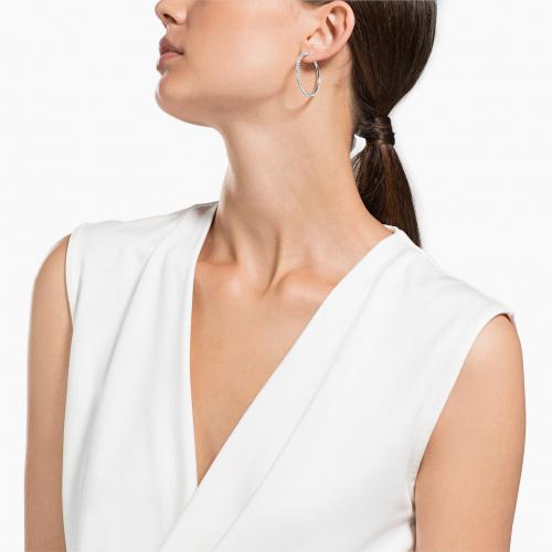 Stone Hoop Pierced Earrings, White, Rhodium plated