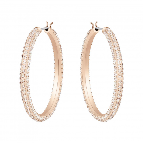 Stone Hoop Pierced Earrings, Pink, Rose-gold tone plated