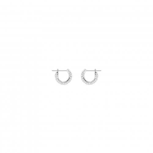 Stone Pierced Earrings, White, Rhodium plated
