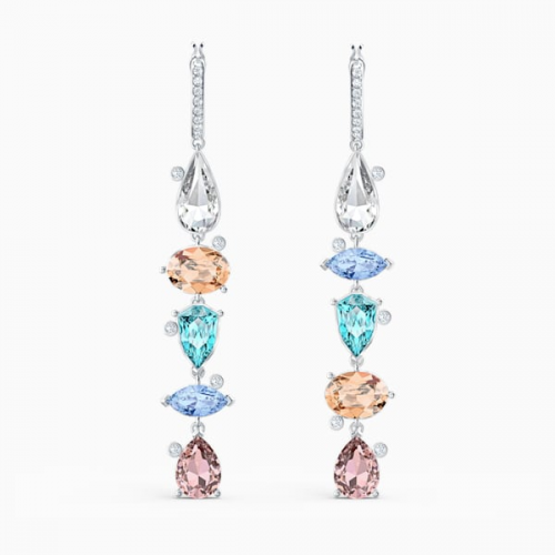 Sunny Hoop Pierced Earrings, Light multi-colored, Rhodium plated