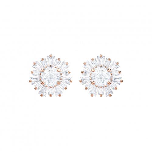 Sunshine Pierced Earrings, White, Rose-gold tone plated