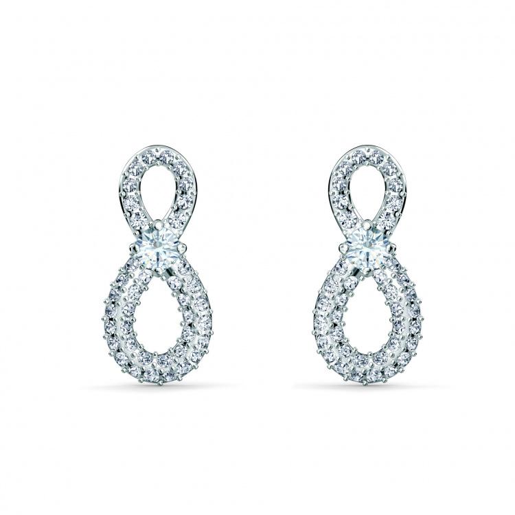 Swarovski Infinity Mini Pierced Earrings, White, Rhodium plated