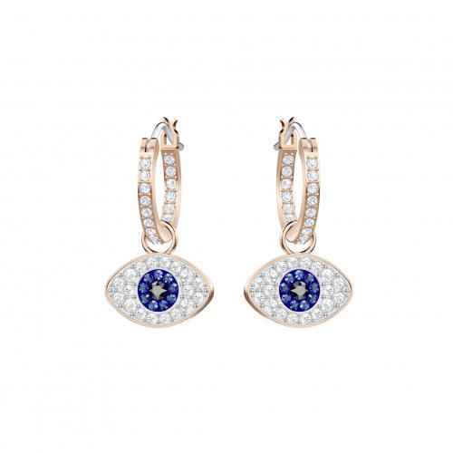 Swarovski Symbolic Evil Eye Hoop Pierced Earrings, Blue, Rose-gold tone plated