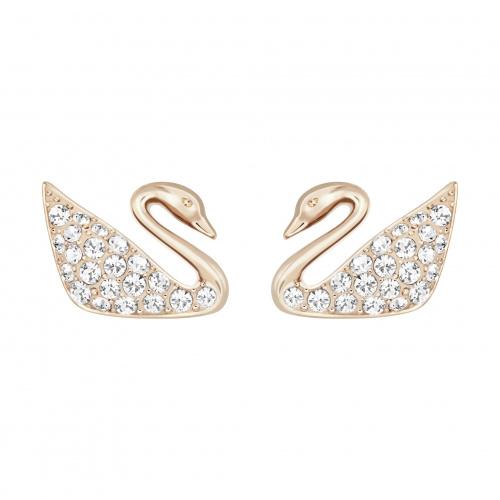 Swan Pierced Earrings, White, Rose-gold tone plated