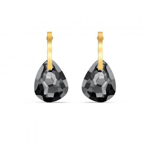 T Bar Pierced Earrings, Gray, Gold-tone plated