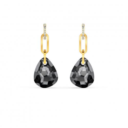 T Bar Pierced Earrings, Medium, Gray, Gold-tone plated