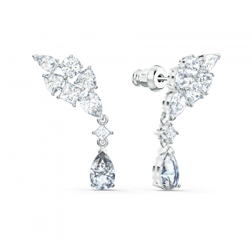 Tennis Deluxe Cluster Mixed Pierced Earrings, White, Rhodium plated