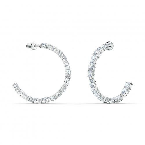 Tennis Deluxe Mixed Hoop Pierced Earrings, White, Rhodium plated
