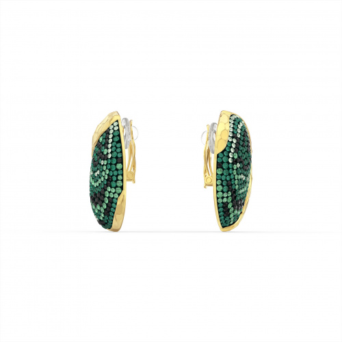 The Elements Clip Earrings, Green, Gold-tone plated