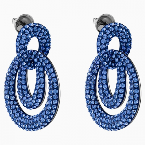Tigris Pierced Earrings, Blue, Ruthenium plated