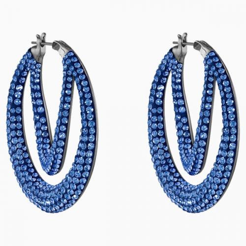 Tigris Hoop Pierced Earrings, Blue, Ruthenium plated